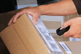 Man scanning package